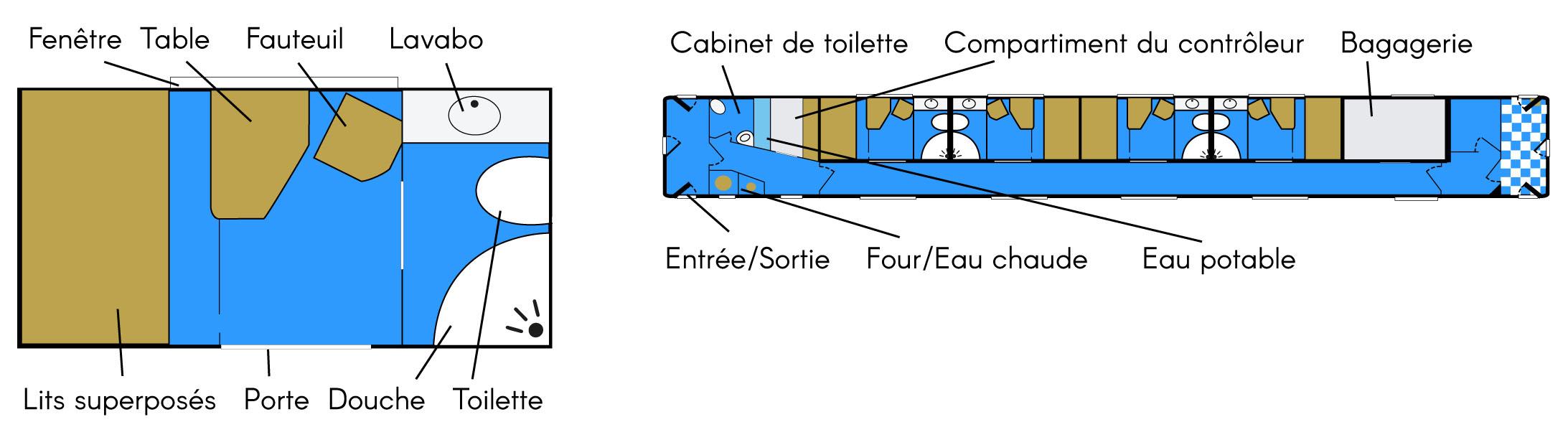 Plan du compartiment Calife dans le train Registan